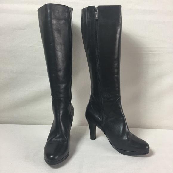 High Heel Boot Black Uk 41 Wide Calf